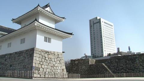 Toyama / Azumi Castle Wide 富山 安住城 Stock Video Footage