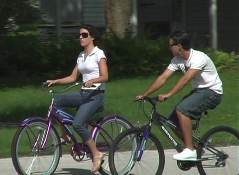 Couple Riding Bicycles Footage