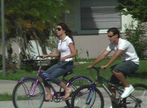 Couple Riding Bicycles Stock Video Footage