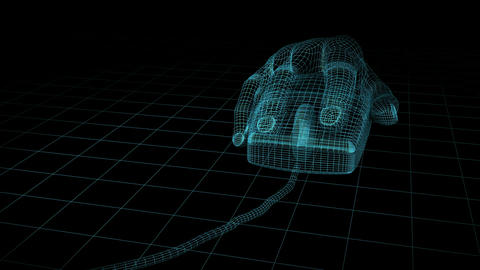 Mouse Hand Wireframe. Loop. HD Stock Video Footage