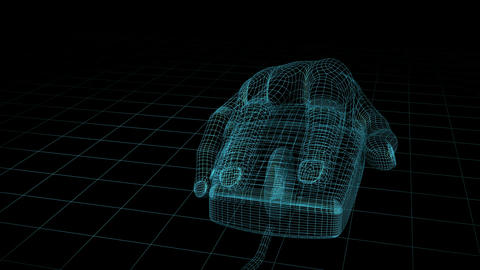 Mouse Hand Wireframe. Loop. HD Animation