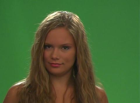 Beautiful Teen Blonde Blow-dries Her Hair-1 Stock Video Footage