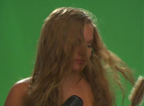 Beautiful Teen Blonde Blow-dries Her Hair-1 Footage