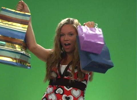 Beautiful Teen Blonde with Shopping Bags-1 Footage
