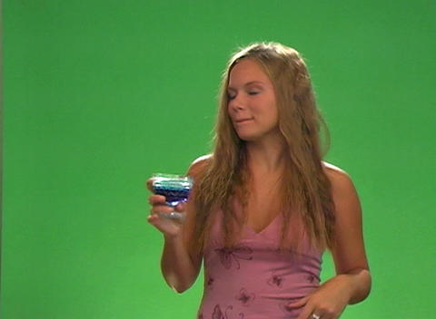 Beautiful Teen Blonde Enjoys a Syrupy Treat Stock Video Footage