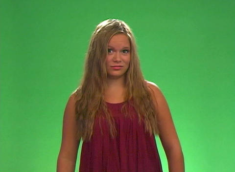 "Beautiful Teen Blonde Says ""No"" Stock Video Footage"