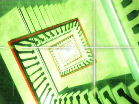 3D generated staircase and elevator Stock Video Footage