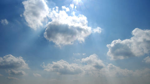 Clouded sky with sun. Spring Stock Video Footage