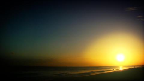 Sea Sunrise Setting Stock Video Footage