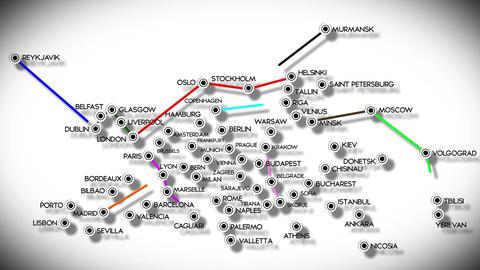 4 K European Cities Subway Map Design 2 Stock Video Footage