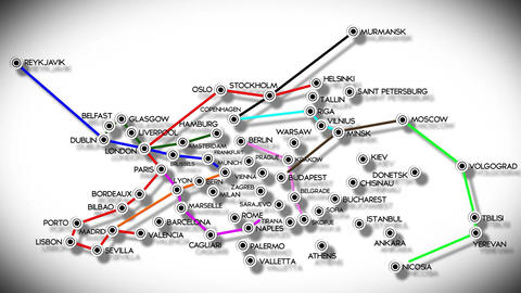 4 K European Cities Subway Map Design 2 Animation