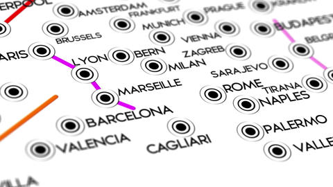 Europe Map Network Design Macro 3 Stock Video Footage