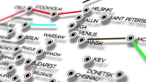 Europe Map Network Design Macro 5 Stock Video Footage