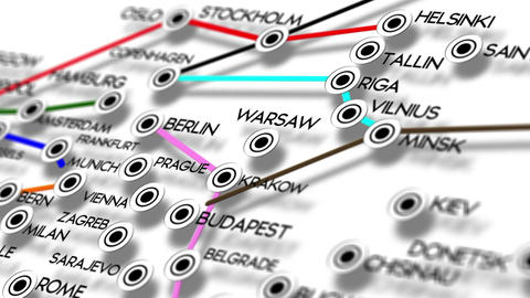 Europe Map Network Design Macro 5 Animation