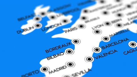 Europe Map Network Design Macro 7 Stock Video Footage