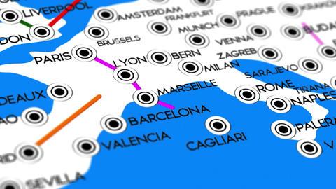 Europe Map Network Design Macro 9 Stock Video Footage