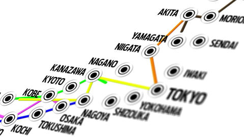 Japan Map Network Design Macro 2 Animation