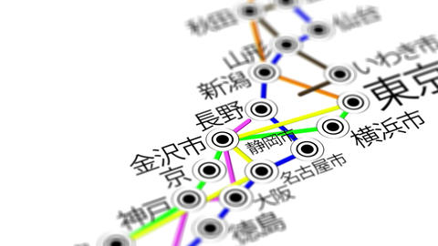Japan Map Network Design Macro 4 Stock Video Footage