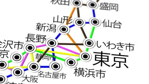 Japan Map Network Design Macro 6 Stock Video Footage