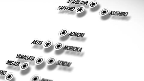 Japan Map Network Design Macro 8 Stock Video Footage