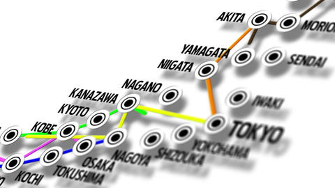 Japan Map Network Design Macro 8 Animation