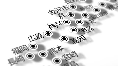 Japan Map Network Design Macro 12 Stock Video Footage