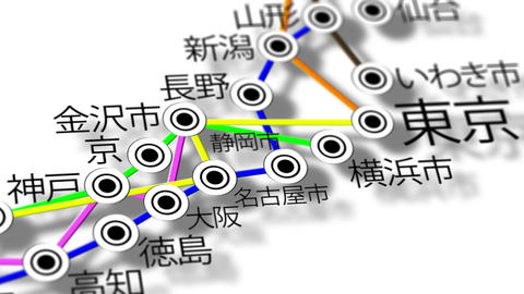 Japan Map Network Design Macro 12 Stock Video Footage