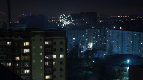 City in fireworks Footage