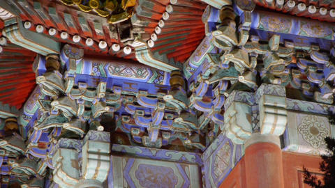Gorgeous palace.Panoramic of Beijing Forbidden City turret in night.the Great Wa Footage