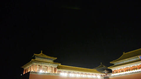Panoramic of Beijing Forbidden City & Gorgeous palace.the Great Wall battlem Footage