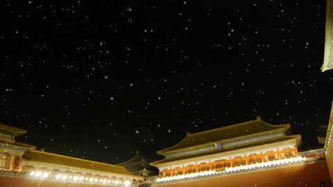 Panoramic of Beijing Forbidden City palace night in... Stock Video Footage