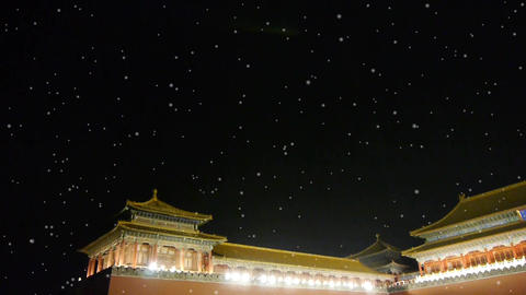 Panoramic of Beijing Forbidden City palace night in winter snow.Great Wall Footage
