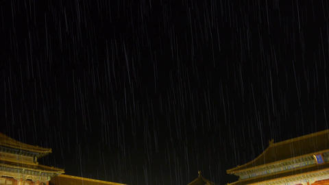 Panoramic of Beijing Forbidden City palace in rain & the Great Wall battleme Footage