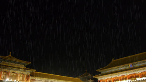 Panoramic of Beijing Forbidden City palace in rain &... Stock Video Footage