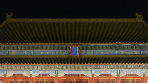 Panoramic of Beijing Forbidden City palace WuMen & the Great Wall battlement Footage