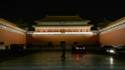 Man people walking before the Forbidden City palace,car... Stock Video Footage