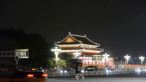 Beijing Tiananmen Square Night Scene,bustling Chang
