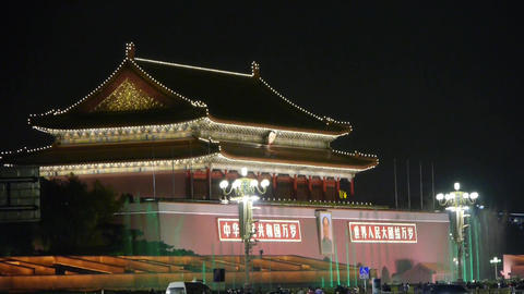Beijing Tiananmen palace gorgeous fountain night.China Political center.MaoZeDon Footage