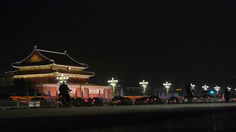 Beijing Tiananmen Square fountains night scene,Bustling... Stock Video Footage