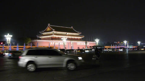 Beijing Tiananmen Square fountains night scene,Bustling Chang'an Street,traffic Footage