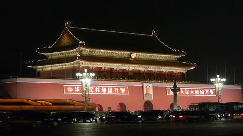 Beijing Tiananmen Square night,Bustling Street... Stock Video Footage