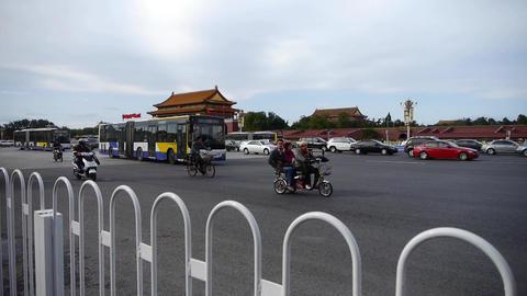 Beijing Tiananmen Square sunny scene,Bustling Street... Stock Video Footage