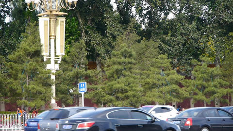 Busy city street car traffic life,woods shaded red wall... Stock Video Footage
