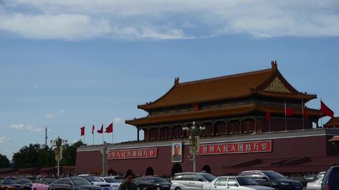 Beijing Tiananmen Square sunny cloud scene,Bustling... Stock Video Footage