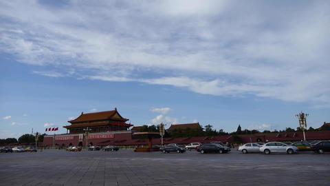 Beijing Tiananmen Square sunny cloud scene,Bustling Chang'an Street,traffic Footage
