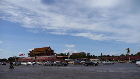 Beijing Tiananmen Square sunny cloud scene,Bustling Street,traffic.timelapse Footage