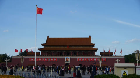 MaoZeDong portrait on Beijing Tiananmen Square,Chinese... Stock Video Footage