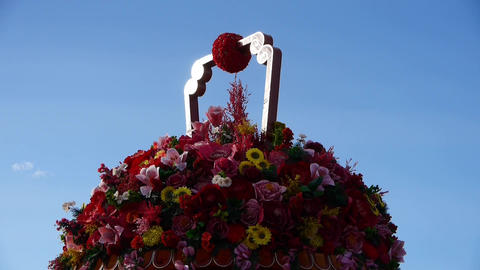 gorgeous baskets full of flowers in wind Stock Video Footage