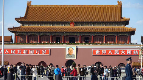 MaoZeDong portrait on Beijing Tiananmen Square,Chinese tourist in Street,traffic Footage