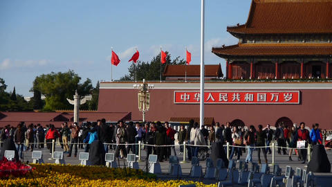 MaoZeDong portrait&Slogans on Beijing Tiananmen Square,Chinese tourist in St Footage